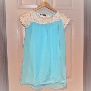 One Step Up Blue with Lace Flowy Shirt